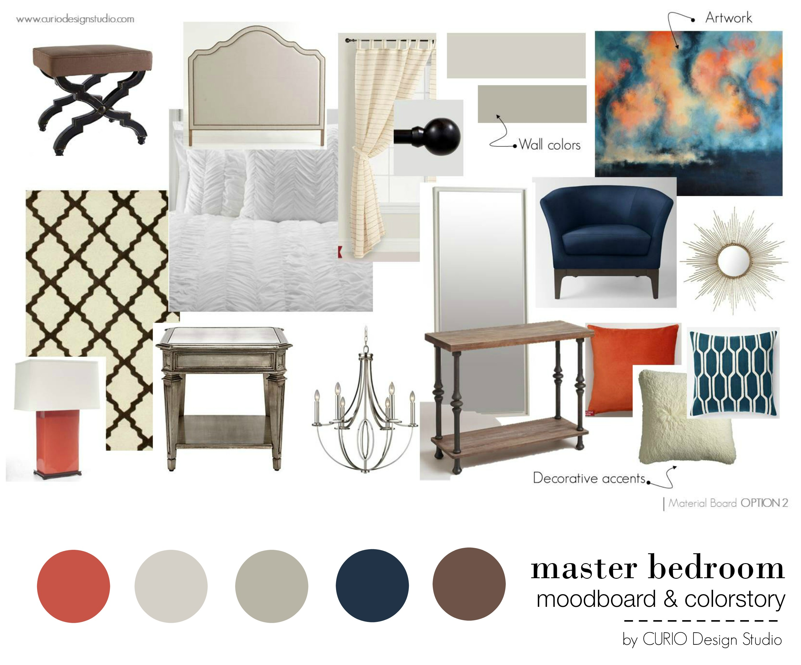 ORANGE & NAVY MASTER BEDROOM