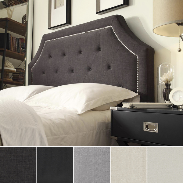 Best upholstered headboards from overstock com curio for Headboard or no headboard