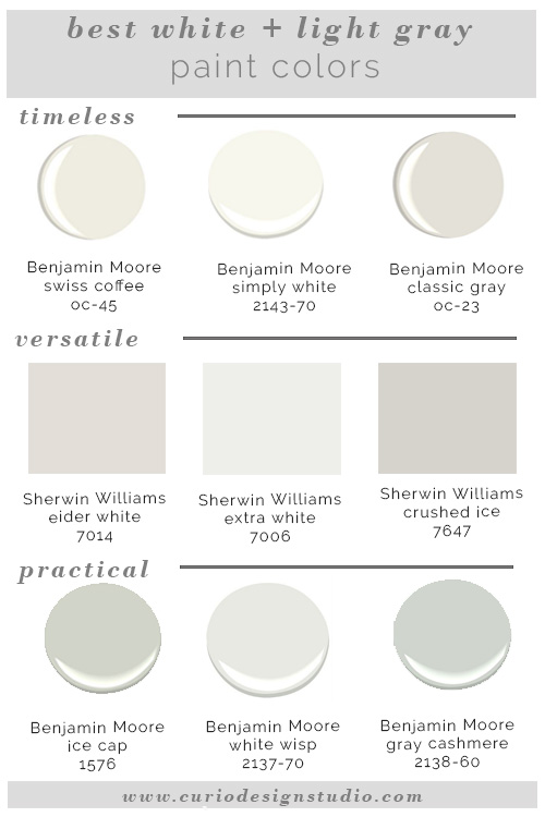 Best white paint colors curio design studio for Grey white paint colors