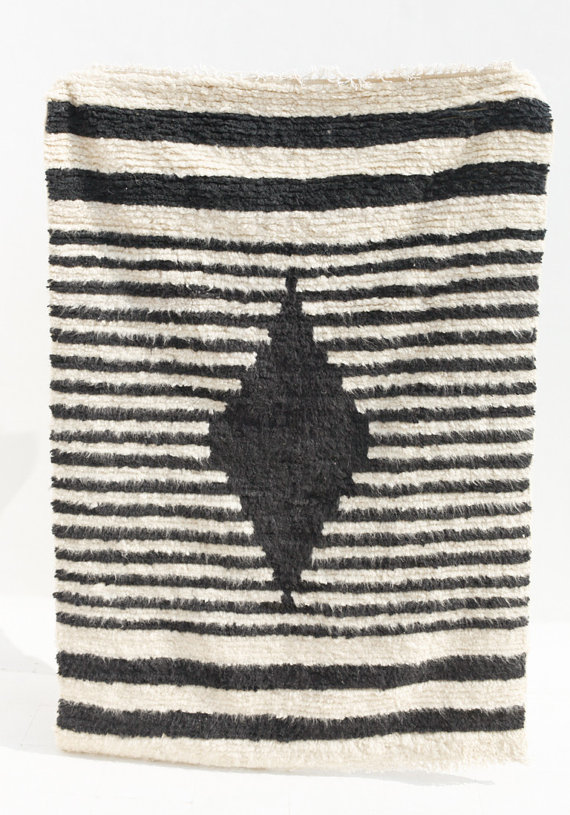 Black And White Diamond Shag Rug