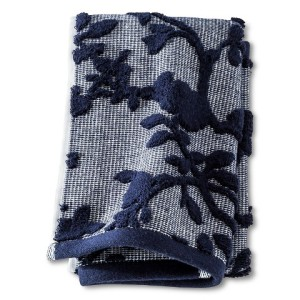 navy floral towel