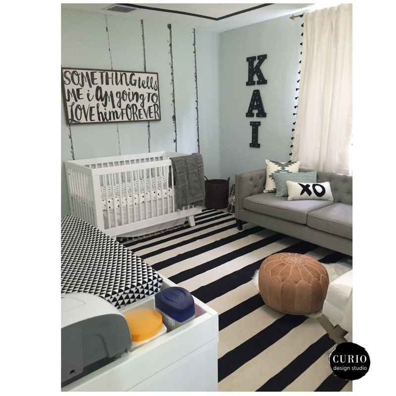 black and white tribal nursery after