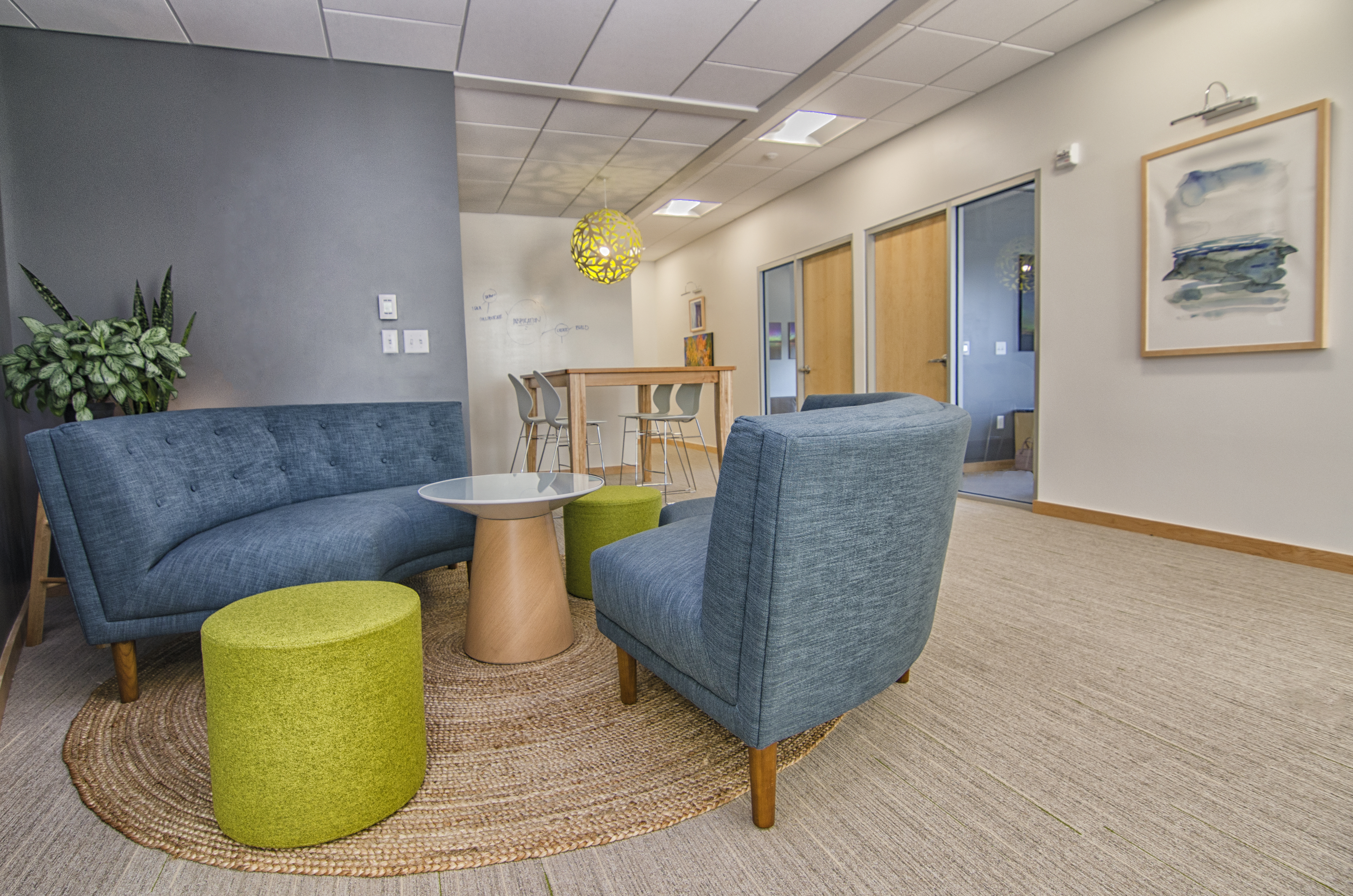 ... Area To Be Open And Collaborative While Also Adding Privacy To The  Executive Offices Behind The New Wall, Which Also Functions As A Dry Erase  Surface.