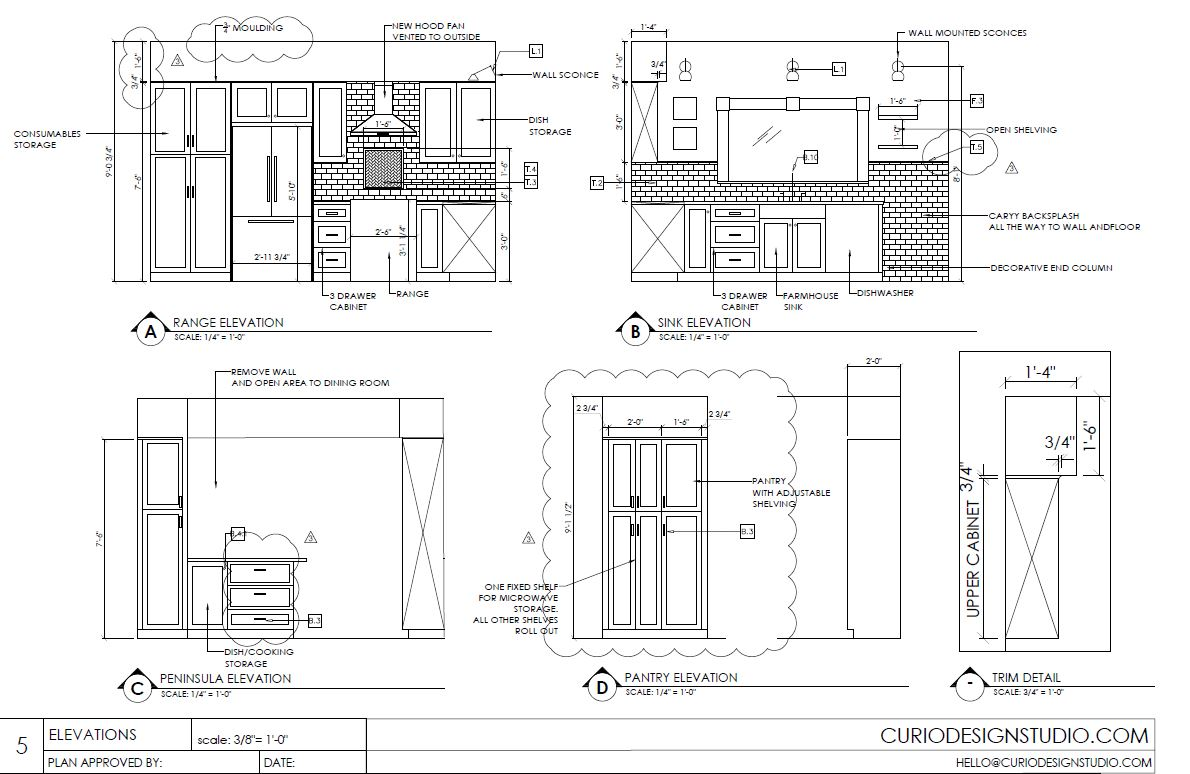 kitchen design plan details  Curio Design Studio